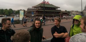Meredith and our group at the start of our ride near Amsterdam Central